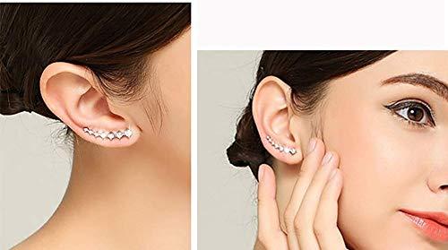 7 Crystals Ear Cuffs Hoop Climber Earrings Hypoallergenic Earring for Women Fashion