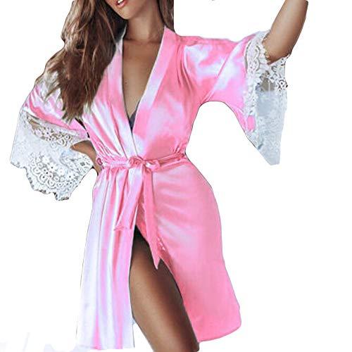 MRULIC Damen leichte Seide Kimono Dressing Nachtwäsche Dessous, Babydoll Spitze Gürtel Bademantel Nachtwäsche Elegante Satin Kleid Robe Silk Satin Nachtwäsche Pyjama(A-Rosa,EU-40/CN-XL)