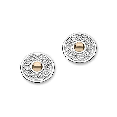 Sterling Silver Celtic Eternity Knotwork Contemporary Design Cuillin & 9ct Rose Gold Pair of Earrings