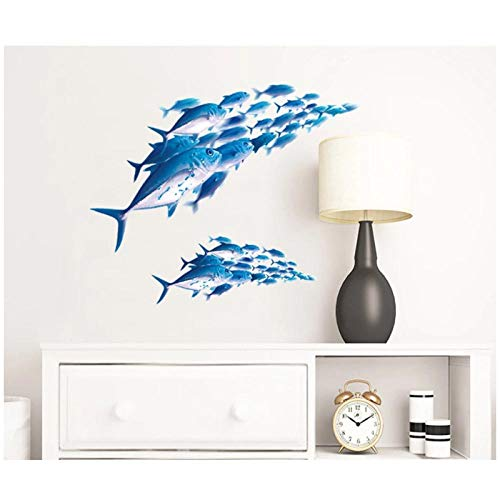 HDKSA 3D Fish Wall Stickers for Kids Living Room Mural Room Decor Home Art Decals Transparent Background Stickers-58 * 30cm