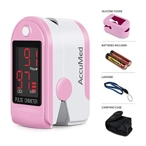 AccuMed® CMS-50DL Fingertip Pulse Oximeter Finger Pulse Blood Oxygen SpO2 Monitor w/Carrying case, Landyard Silicon Case & Battery (Pink)