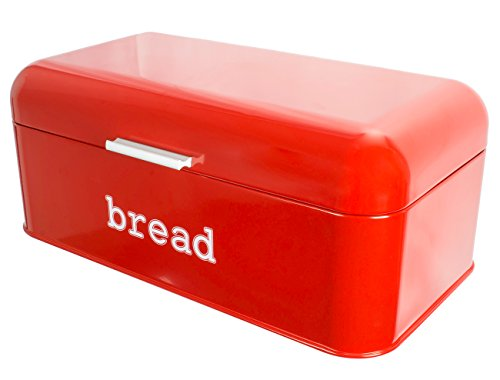 Vintage Stainless Steel Bread Box (Red, 16.75 x 9 x 6.5 In)