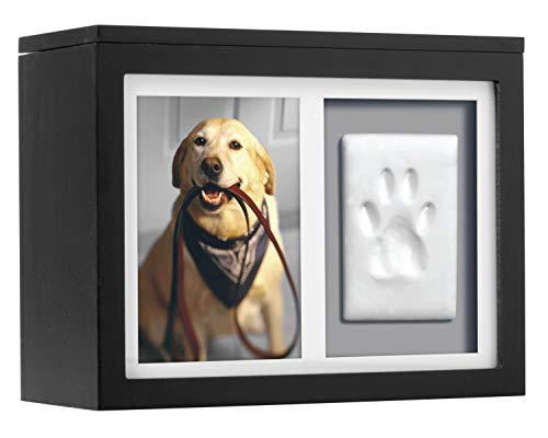 Pearhead Pet Photo Memory Box and Impression Kit for Dog or Cat Paw Print, Black