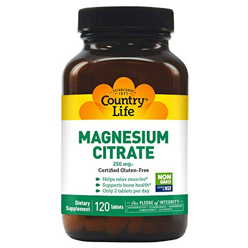 Country Life Magnesium Citrate 250 mg, 120-Count