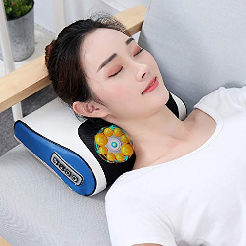 DAFA Elektro-Infrarotheizungs-Ansatz-Schulter zurück Körpermassage Shiatsu Kissen gesunde Entspannung Gerät Multifunktions-Kissen Back Home Full Body Cushion,Blau