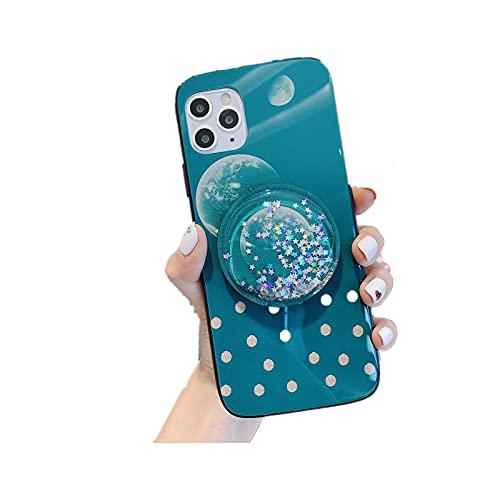 caja del teléfono hahaling con espejo. La parte posterior se puede plegar como soporte. El material de vidrio templado es adecuado para iPhone 12 (6.1 pulgadas) Goddess must (verde con espejo).
