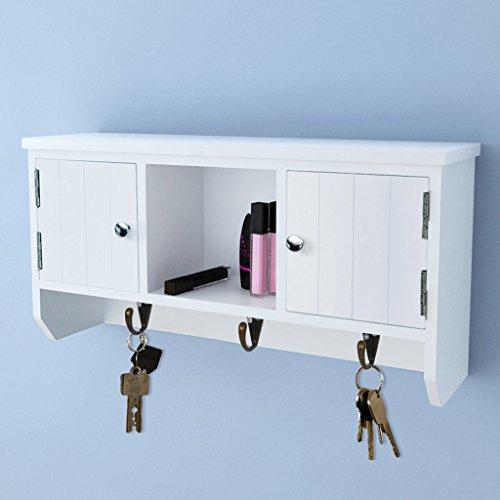 Festnight Schlüsselschrank mit Türen und 3 Haken 40 x 8,5 x 20 cm Weiß