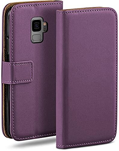 moex Klapphülle für Samsung Galaxy S9 Hülle klappbar, Handyhülle mit Kartenfach, 360 Grad Schutzhülle zum klappen, Flip Hülle Book Cover, Vegan Leder Handytasche, Lila
