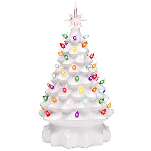 Best Choice Products 15in Pre-Lit Hand-Painted Ceramic Tabletop Christmas Tree Holiday Decoration w/ 64 Multicolored Lights - White