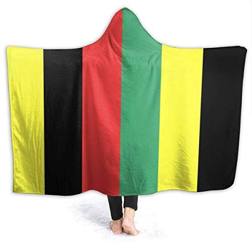 Manta con capucha usable negro amarillo rojo verde línea súper suave de gran tamaño para adultos, mujeres, hombres | Manta de tiro ligera para llevar, picnic, viaje, sofá, vida, 50 x 40 pulgadas