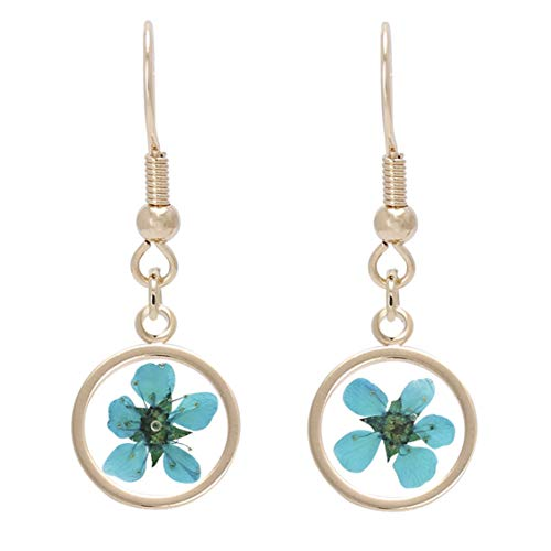 Bonaluna Women's Pressed Flower Circle Dangle Drop Earrings Turquoise