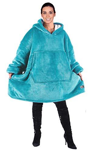Kato Tirrinia Übergroße Sherpa Hoodie Sweatshirt Decke, Weiche Warme Riesen Hoodie Fronttasche Giant Plüsch Pullover Decke mit Kapuze for Erwachsene Männer Frauen Teenager-Studenten, Blau