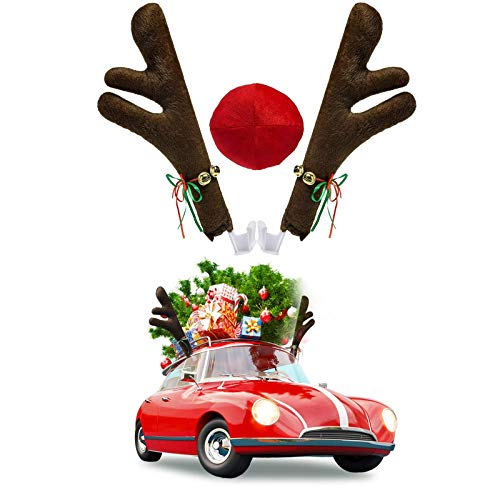 Christmas Car Decoration Kit,Reindeer Jingle Bell Christmas Costume, Auto Accessories Decoration Kit for Car Windows and Front Grille, Xmas Gift Set