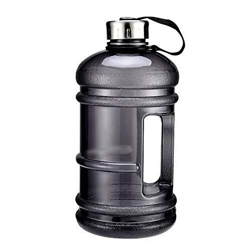 ZJY 2.2L Gran Capacidad Gimnasio Deporte Botella de Agua Fitness Mancuerna Entrada de Agua Grande Mango Antideslizante Material ecológico Deportes al Aire Libre Oficina y Escuela,Black