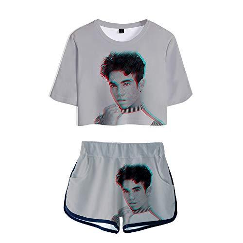 NCTCITY R.I.P. Cameron Boyce Crop Tops T-Shirts + Pantalones Cortos Set Casuales Angel Impresión 3D Dos Piezas De Algodón De Verano para Los Fans Actor Rapper Cameron Boyce 1999 2019