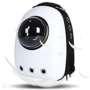 LEMONDA Portable Pet Travel Carrier,Space Capsule Pet Cat Bubble Backpack,Waterproof Traveler Knapsack for Cat and Small Dog Mutil Colors to Choose(White)