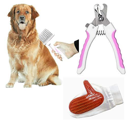 Pack Higiene para Mascotas. Cepillo de Pua + Cortauñas + Guante de Ducha. Cepillo para quitar pelos muertos de perros y gatos. (Rosa)