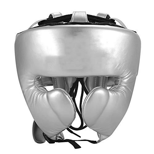 Zhengowen Boxhelm Halboffene Monkey Face Kopfschutz Barrierefreie Vision-Ultra-Light bewegliche Professional Boxing Kampf Helm Kopfschutz für Boxen (Farbe : Silver, Size : L)
