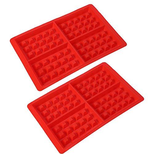 2 moldes de silicona para gofres, moldes para hornear DIY antiadherentes, fabricante de gofres para gofres, muffins, pastel, chocolate, rojo