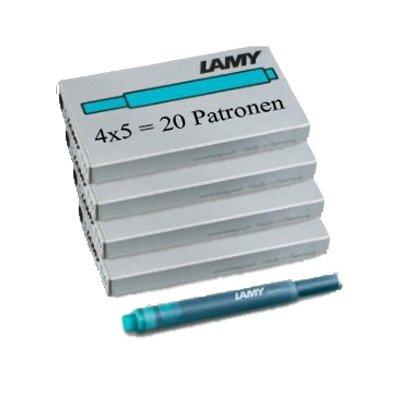 Lamy T10 20 Tintenpatronen 4 Päckchen mit 5 Tintenpatronen, 8 Farben zur Auswahl (4 Päckchen, türkis)