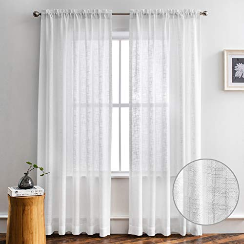 Melodieux White Linen Textured Semi Sheer Curtains 63 Inch Length for Bedroom Living Room Natural Flax Linen Rod Pocket Voile Drapes, 52 by 63 Inch (2 Panels)