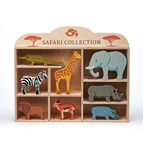 Tender Leaf Toys Safari Animals – 8 Wooden Zoo Figurines with a Display Shelf -Classic Toy for Pretend Play – Develops Social, Creative & Imaginative Skills – Learning Role Play – Ages 3+ Years