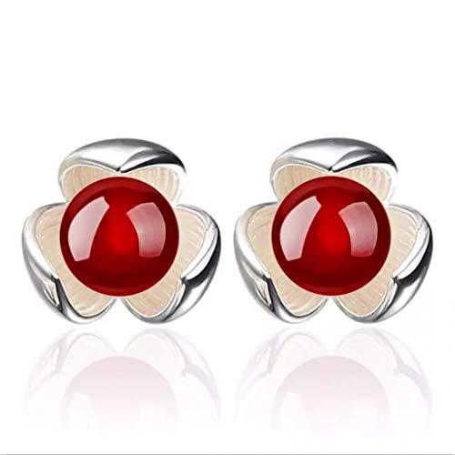 Pendientes de botón de bola de cristal rojo para mujer, pendientes de plata 925 para mujer, joyería de fiesta para mujer