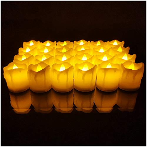 LED Simulation tears Electronic Candle Lights Creative flameless Candle Christmas Day LED Tea Wax Candle Lights 24pcs