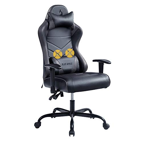 Blue whale Massage Gaming Chair Office Desk Chair Ergonomic High Back Racing Computer Chair with Headrest and Lumbar Support Backrest, Seat Height Adjustable Swivel Chair