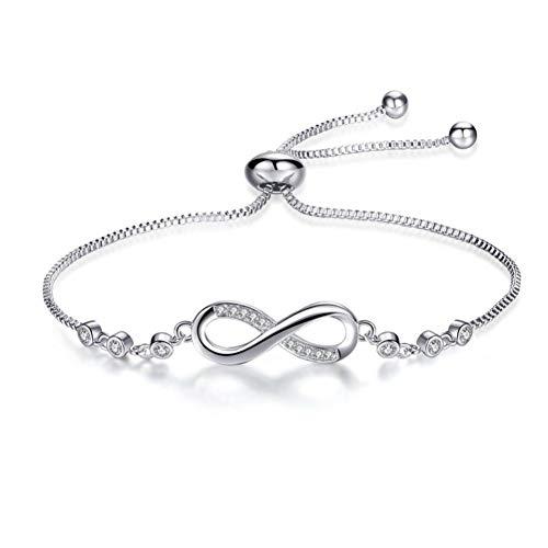 QIZDAN Armbänder & Armreifen Für Frauen Silber Farbe Endless Love Infinity Zirkonia Mode Armbänder Schmuck