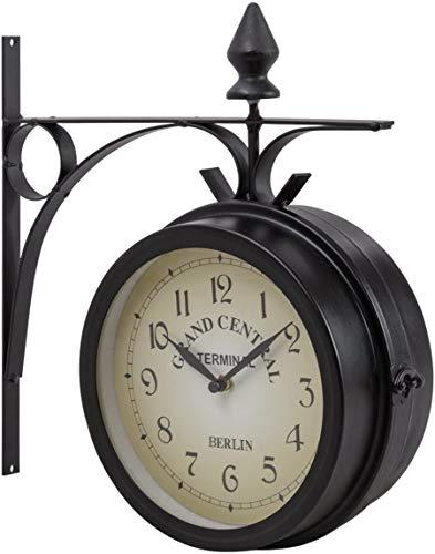 RELAX4LIFE Retro Wanduhr, doppelseitige Uhr mit arabischen Ziffern, wasserdichte Wanduhr für Garten & Korridoren & Veranda, runde Bahnhofsuhr im amtiken Design, Gartenuhr schwarz, 30 x 10 x 33 cm