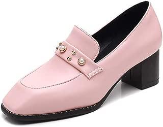 Veveca Women Leather Platform Slip On Mid Heel Retro Dress Oxford Pumps Square Toe Pearl Loafer Shoes
