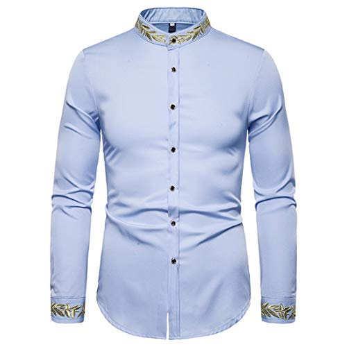 Yczx Men's Shirts Long Sleeves Stand Collar Casual Slim Fit Shirts Printed Elegant Shirt Working Office Business Formal Shirt Tops Classic Wedding Prom Shirts Casual Wear Shirt XL