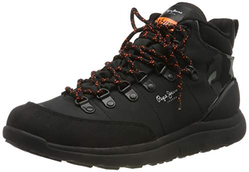 Pepe Jeans London Herren Hike Mountain Nylon Hohe Sneaker, Schwarz (Black 999), 44 EU