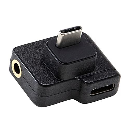 H HILABEE Adaptador de micrófono Adaptadores de Audio de Carga Micrófono Adaptador de 3,5 mm/USB-C Audio Montaje de micrófono Externo de 3,5 mm para cámara de