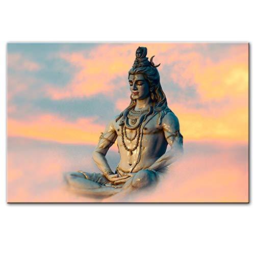 """NIEMENGZHEN Imprimir en Lienzo Lord Shiva Arte de la Pared Pinturas sobre Lienzo Dioses hindúes Hogar Lienzo Decorativo Arte Impresiones Imágenes para la Sala Cuadros 23.6""""x 31.4"""" (60x80cm) Sin Marco"""
