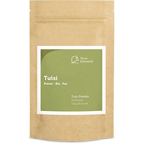 Terra Elements Bio Tulsi Pulver, 100 g I Heiliges Basilikum I 100% rein I Vegan I Rohkost