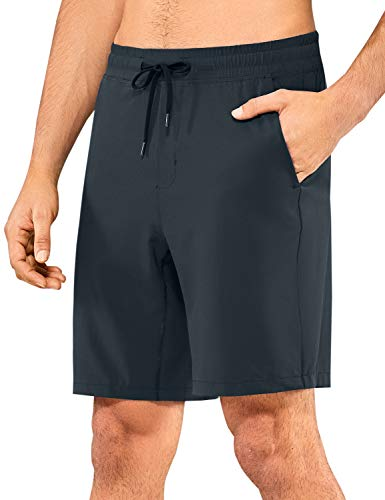 CRZ YOGA Men's Quick-Dry Workout Shorts Running Athletic Sports Shorts with Pockets - 9 Inches True Navy Large