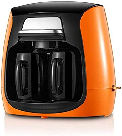 AMAZACER Full-Automatic Household Coffee Maker with Double Cups American Coffee Machine,Green (Color : Orange)
