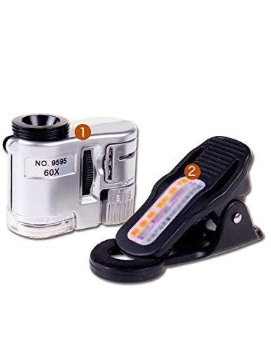 Vergrootglas lezen 60X Mini met LED-licht Mobile Phone Microscoop, Universal Clip Type, gebruikt om sieraden te identificeren, Diamonds, Antiek, Bankbiljetten, Wenwan, Etc. op Bekijk kaart