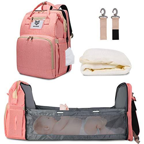 Bolsa de pañales para bebé, mochila con gancho para cochecito y pañales, para mamá, Rosa (Rosado), Talla única