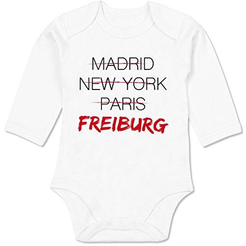 Städte & Länder Baby - Weltstadt Freiburg - 6/12 Monate - Weiß - Geschenk - BZ30 - Baby Body Langarm