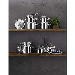 WMF Gourmet Plus Topfset Induktion 7-teilig, Kochtopf Set mit Metalldeckeln, Cromargan Edelstahl mattiert