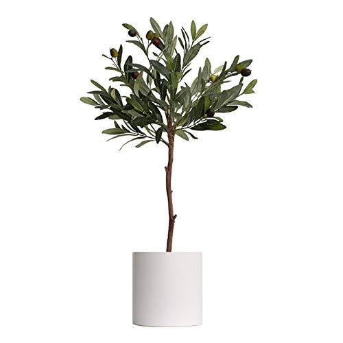Plantas Artificiales Artificial Olivo en falso decorativo árbol de la planta de imitación de contenedores Aceitunas grande de la hoja principal Green Floor artificial Planta de tiesto, de 2.3 pies Pla