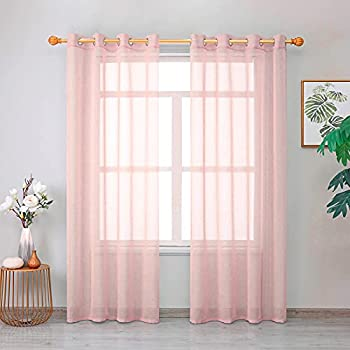Roy Lei Light Pink Sheer Curtains Voile Light Filtering Grommet Voile Drapes Curtains for Bedroom & Living Room,Set of 2 Panels  Pink 38 X63