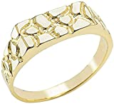 10K Yellow Gold Nugget Style Flat Signet Band or Pinky Ring - Size 7
