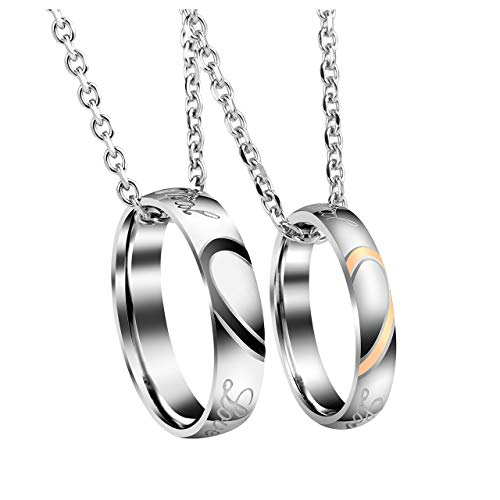 Jovivi 2pc Men Women Stainless Steel Couple Ring Necklace Heart Matching Couples Necklaces Silver His and Hers Rings Wedding Engagement Valentines Gifts