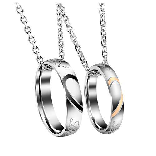 JSDDE Schmuck Edelstahl Pärchen Herz Puzzle Halskette mit Ringe Anhänger Liebe Paare Kette Ring Geschenkbox Silber-ohne Gravur