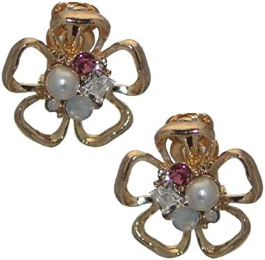 CHELLE Gold tone faux Pearl Crystal Flower Clip On Earrings