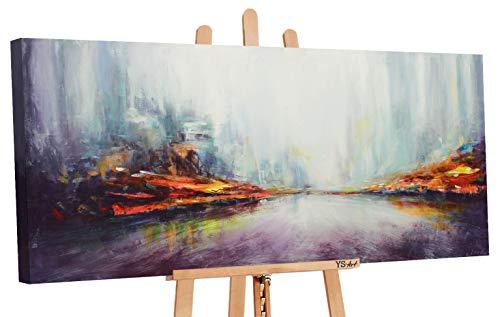 YS-Art | Acryl Gemälde Die Größe der Stadt | Handgemalte Leinwand Bilder | 115x50cm | Wandbild Acrylgemälde | Moderne Kunst | Leinwand|Unikat|Violett